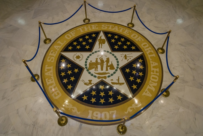 Oklahoma Capitol Seal (2013) by mrlaugh on flickr at: www.flickr.com/photos/mrlaugh/9529159402/